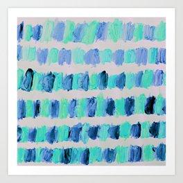 Ocean Brush Strokes -in mint & blue on grey Art Print