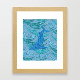 Watercolor Whale Dive Framed Art Print