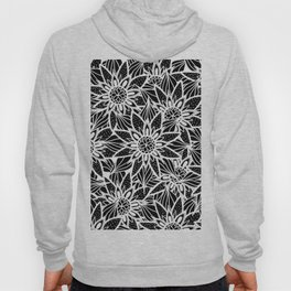 Modern Elegant Black White Tangle Flower Drawing Hoody