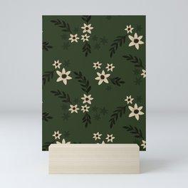 Green Ditsy Florals Mini Art Print
