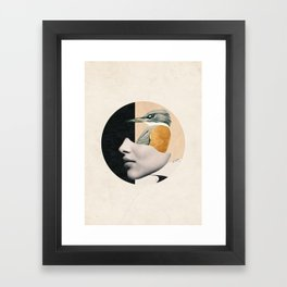 collage art / bird Framed Art Print