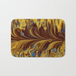 Electric-Blue, Brown, and Gold Abstract Bath Mat