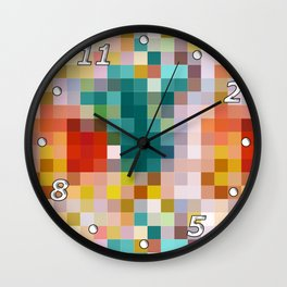 Flower pot - abstract mosaic background with colorful squares Wall Clock