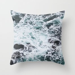 OCEAN - ROCKS - FOAM - SEA - PHOTOGRAPHY - NATURE Throw Pillow