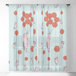 I Believe I Can Fly Pigs Sheer Curtain