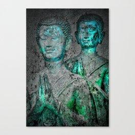 Prayers cyan green Canvas Print