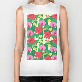 Colorful red pink green flower of paradise tropical floral illustration Biker Tank