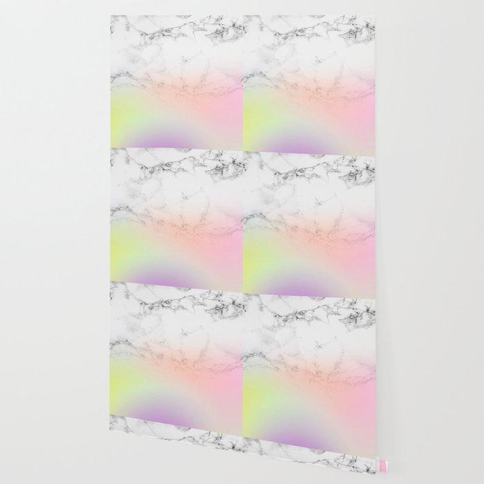 Modern White Marble Unicorn Rainbow Ombre Gradient Wallpaper