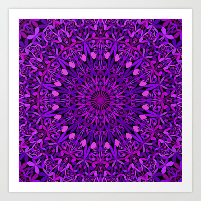 Purple Leaves Kaleidoscope Mandala Art Print
