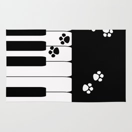 The keys of the piano . Creative black and white pattern . Rug