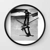skateboard Wall Clocks featuring Skateboard by Chiarra Mandato