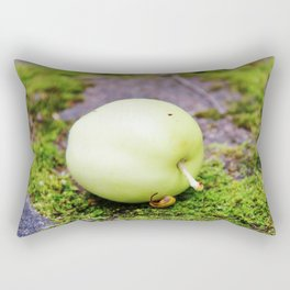 Green apple on green moss Rectangular Pillow
