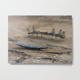 Mekong Traditional Fishing Boat and Fishing Gear Laos Metal Print