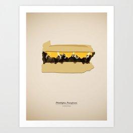 Philly Cheese Steak in shape of Pennsylvania, Philadelphia, Famous Food Kitchen Art Print Art Print