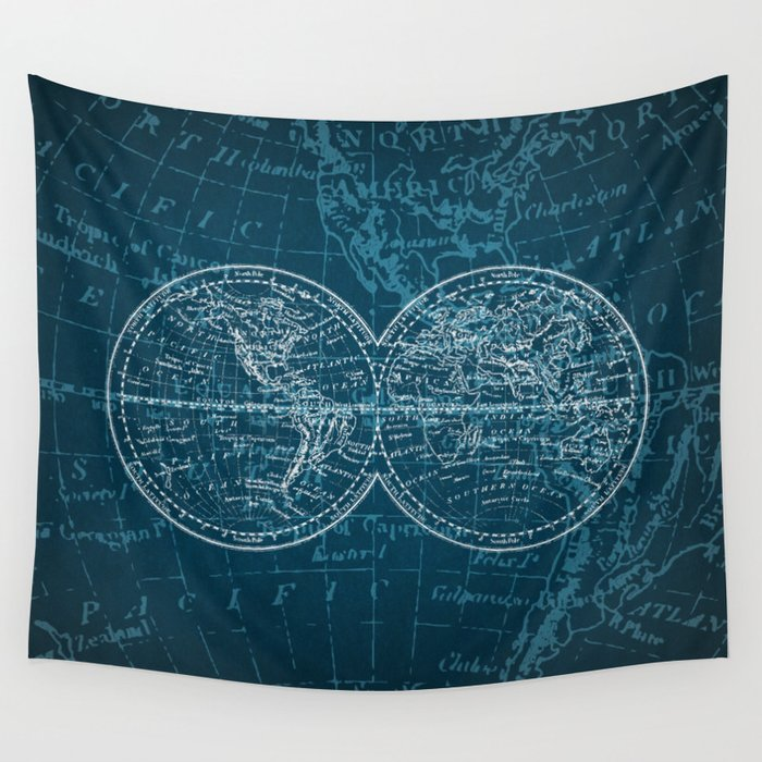 Navigation World Map.Antique Navigation World Map In Turquoise And White Wall Tapestry By