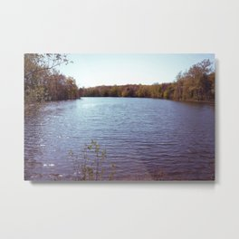 Night Evergreen Lake Metal Print