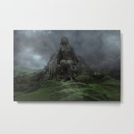 Giant Goddess Statue on a Green Hilly Landscape Metal Print