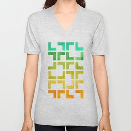 Colorful Watercolor gouache On Black Background Teal Turquoise Yellow Gradient Mid Century Modern Unisex V-Neck