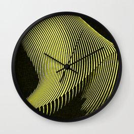 Line Art, yellow waves, geometric pattern Wall Clock