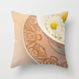 Cup of flowers Throw Pillow