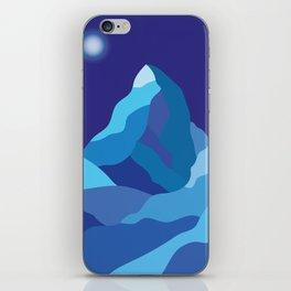 Icy winter Matterhorn mountain in blue colors iPhone Skin
