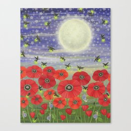 moonlit poppies, fireflies, and snails Canvas Print