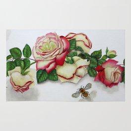French Perfume Rose Swag Bee Art Rug