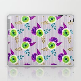 Fearless - bold floral watercolor pattern with stripes Laptop & iPad Skin
