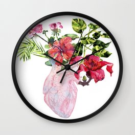 Human heart with flowers, plant and leaf, watercolor Wall Clock