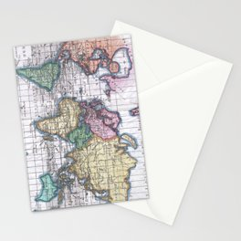 Vintage Map of The World (1780) Stationery Cards