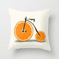 threadless Throw Pillows featuring Vitamin by Florent Bodart / Speakerine