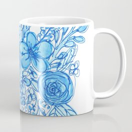 Blue Floral Bouquet Monochrome Watercolor Coffee Mug