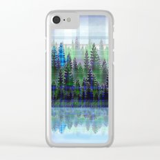 Nature Reflected Plaid Pine Forest Clear iPhone Case