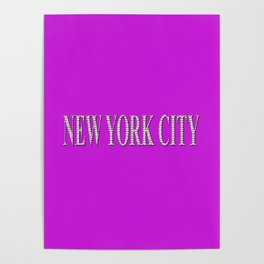 New York City (white type on pink) Poster