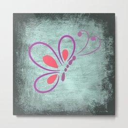 Rustic Butterfly Art on Wall, Faux Metal Metal Print