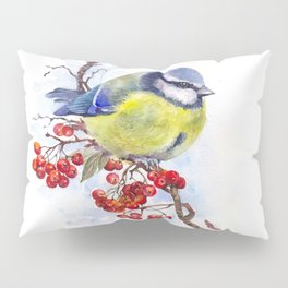 Watercolor Titmouse Great tit winter bird Pillow Sham
