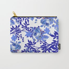 BLUE AND WHITE ROSE LEAF TOILE PATTERN Carry-All Pouch
