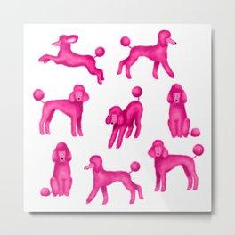 Pink Poodles Metal Print