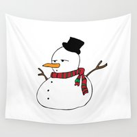 snowman Wall Tapestries featuring snowman by polarbearstudio