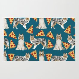 Sheltie shetland sheepdog pizza slices cheese pizzas dog breed pet friendly custom dogs Rug