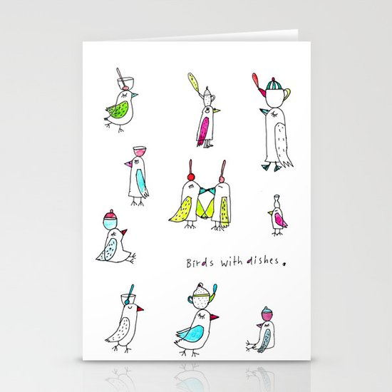 birds with dishes Stationery Cards