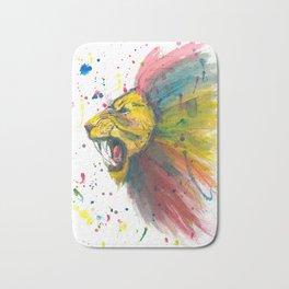 Lion - Watercolor Painting Bath Mat