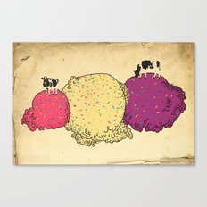Cows love ice cream Canvas Print