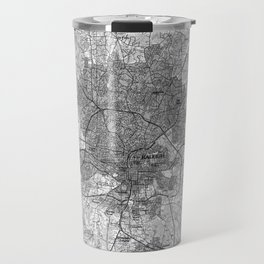 Raleigh North Carolina Map (1990) BW Travel Mug