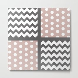Warm Gray/Tan Chevron/Polkadot Pattern Muted Palette Neutrals Metal Print