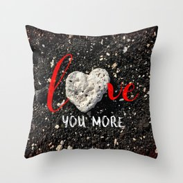 """""""Love You More"""" Hawaii Beach with Coral Heart Photo Throw Pillow"""