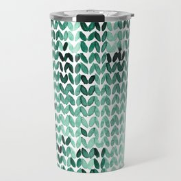 Watercolor Knitted Pattern Travel Mug