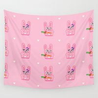 bunnies Wall Tapestries featuring Oh, bunnies!.. by Trapezoid