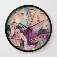 loll3 Wall Clocks featuring Pizza Party by lOll3
