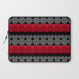 Black red fishnet lace pattern . Laptop Sleeve